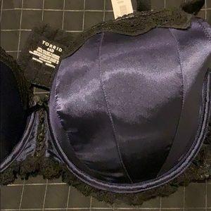 torrid Intimates & Sleepwear - NWT torrid Navy Satin Balconette Bra 44D